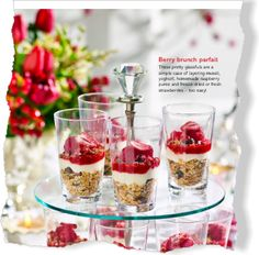 Berry brunch parfait. Great for Christmas brunch. Make with Greek Gods Honey or Plain Yogurt! #yogurt #christmas