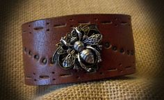 Leather Cuff Embellished with Bee by BellaDoniBoutique on Etsy, $35.00