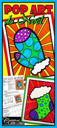 Voici le projet : « Pop art de Noël» Les élèves aiment beaucoup le Pop art, car c'est un mouvement artistique très coloré et inspirant. Ce projet est idéal à l'approche des fêtes, car le matériel utilisé est très simple.   2e année du primaire et plus.  - Pour les plus petits, j'ai inclus des dessins à photocopier. - Ce projet peut très bien se réaliser de secondaire 1 à 5. Ils pousseront leurs dessins et motifs plus loin et de façon plus complexe.