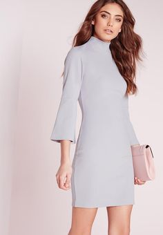Introducing the ultimate bodycon dress in a fresh and chilled ice grey hue. This lush dress is our current favourite, with its darling flute sleeves, high neckline and flattering silhouette. Pair with barely-there heels for a super effortless style fix. Ice Dresses, Short Dresses, Bodycon Dress With Sleeves, Dresses With Sleeves, Going Out Dresses, New Dress, Preppy, Party Dress, Cold Shoulder Dress