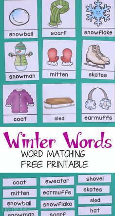 Free 3-Part Cards for Winter Word Work. So many ways to use these cards to practice winter words with my daughter!