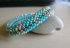 Turquoise blue beadweaving seed bead bracelet by BeadsBeautyShop