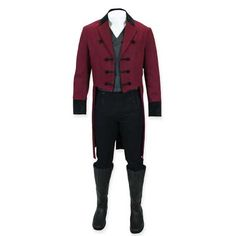 1800s Mens Burgundy Cotton,Velvet Solid Notch Collar Tail Coat | 19th Century | Historical | Period Clothing | Theatrical || Old Sovereign Regency Tailcoat - Burgundy