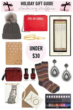 #Christmas Holiday #Gift Guide: under $30 @juliaengel: accessoires (Beanie, Clutch, rings, earrings, J. Crew socks), kate spade new york pencils + mug, Notebook, Deborah Lippmann Nailpolish Set, J.Crew XO Notecards, Eyeshadow Palette