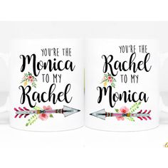 Best Friend Mugs Christmas Gifts You Are the Monica to My Rachel... ($30) ❤ liked on Polyvore featuring home, kitchen & dining, drinkware, drink & barware, home & living, mugs, silver, motivational mugs, green coffee mugs and handmade mugs