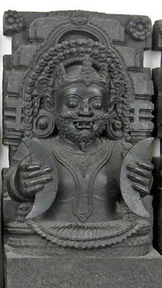 Rahu is the celestial deity of darkness and eclipses. Rahu is associated with the demon Svarbhaanu which swallows the sun, resulting in eclipses. In art, he appears as a serpent with no body riding a chariot drawn by eight black horses.