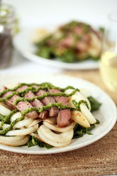 Chia-Chimichurri Steak with Turnip-Chard Pasta adaptable for AIP