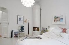 Contemporary Wood Apartment With Many Decorations: White And Warm Swedish Bedroom Apartment With Similar Fireplace Design As Like Fireplace . Room Design, Romantic Interior, Apartment Design, Apartment Interior, Apartment Interior Design, House Styles, Contemporary Floor Lamps, Home And Living, Interior Deco