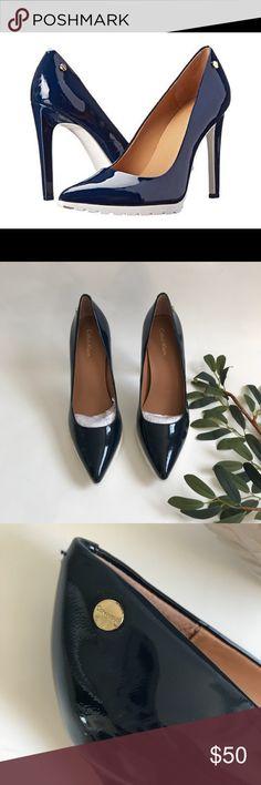"Calvin Klein | navy heels BNWOT! These have never been worn ! Beautiful Calvin Klein Brigitte dress pump , navy and white . 4"" heel 100% leather , rubber sole , pointed toe size 7.5 Calvin Klein Shoes Heels"