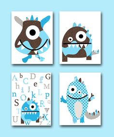 Monster Nursery Alphabet Nursery Baby art Kids Art by artbynataera