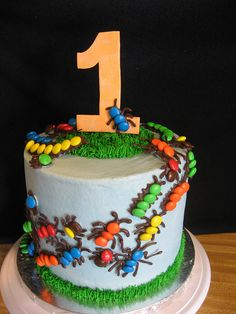 Bug cake, could use skittles or m's. Could use idea on cupcakes too Cupcakes, Cupcake Cookies, Bug Birthday Cakes, Boy Birthday, Birthday Ideas, Food Cakes, Little Muffins, Bug Cake, Gateaux Cake