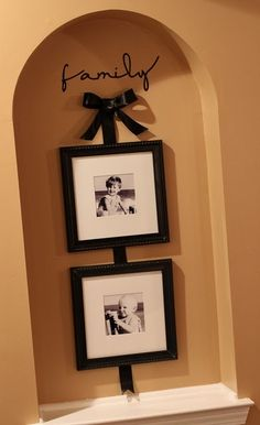 """6 Years later, still looking for ideas to put into our arches....  """"hanging"""" frames with ribbon"""