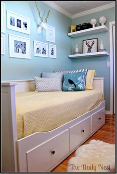 Day bed--great idea for a guest room. Doesn't take up a lot of space and has storage underneath.