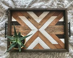 Wood Tray - Geometric Wood Tray - Reclaimed Wood Tray -Wood Serving Tray - Wood Wall Art - Wood Art - Boho Wood Tray - Boho Wood Wall Art