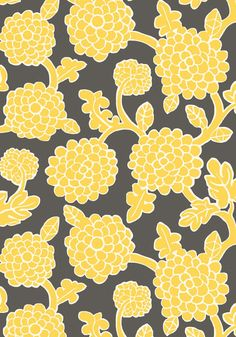 Nikko #wallpaper in #yellow and #grey from the Resort collection. #Thibaut #Chinoiserie