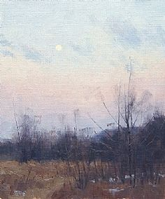 Descending Winter Moon by Marc Hanson Oil ~ 12 x 10 Pastel Landscape, Winter Landscape, Abstract Landscape, Seascape Paintings, Landscape Paintings, Winter Moon, Painting Snow, Nature Artwork, Sky Art