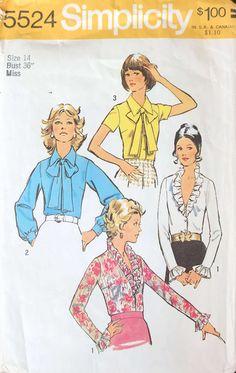 7958ad61d60572 Simplicity 5524 1973 Blouses Bow Tie Blouse, V Neck Blouse,