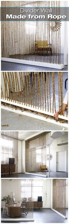 DIY rope room divider. Nice idea! Create your own rope wall.