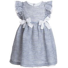 Il Gufo Girls Striped Dress with Organza Bows