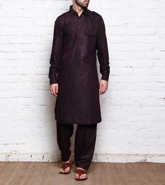 #Wine Cotton #Pathani #Suit from #Pathani by #Kashmiriyat at #Indianroots