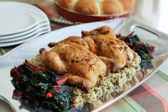Roasted Cornish Game Hens with Bacon-Herb Butter served on Nambe's Handled Tray Platter, Tray, Cornish Game Hen, Herb Butter, Butter Recipe, Hens, Tabletop, Main Dishes, Om