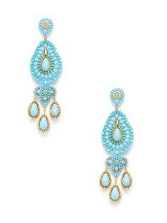Miguel Ases Turquoise Teardrop Chandelier Earrings