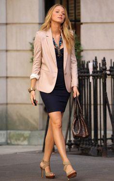 Blake Lively--short blue dress, tan blazer, neutral accessories, statement necklace