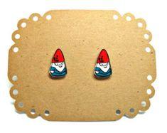 Lil' Gnomes Post Earrings by kteediid on Etsy-make my own with shrinkey dinks Lego Jewelry, Diy Jewelry, Jewelry Design, Jewellery, Shrinky Dinks, Shrink Art, Shrink Film, Shrink Paper, Shrink Plastic Jewelry