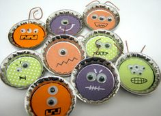 Spooky Bottle Cap Monsters.  Get your bottle cap craft supplies at www.fizzypops.com.