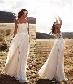 Vintage Lace 2016 Lurelly Beach Wedding Dresses Spaghetti A Line Chiffon Floor Length Bridal Dresses Simple Cheap Wedding Gowns Wedding Ball Gowns Wedding Dreses From Weddingmall, $83.77| Dhgate.Com