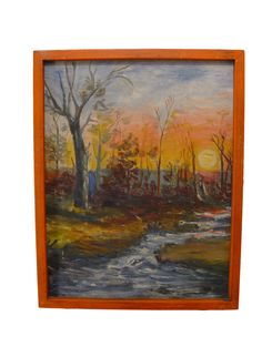 Autumn Forest at Sunset Oil On Board