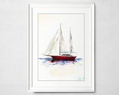 Small Sailing Boat Watercolor Painting by Ivars Selickis #watercolorpainting #sailingboat #watercolors #minimalism #simplepainting #sea #waterpainting