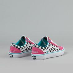 Vans Old Skool Pro Shoes (Golf Wang) - Blue / Pink / White | Flatspot