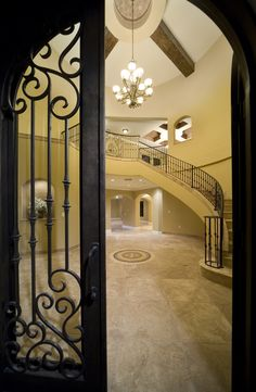 Villa Sevilla - mediterranean - entry - orlando - Jorge Ulibarri Custom Homes Beautiful Interiors, Beautiful Homes, Mediterranean Homes Exterior, Iron Doors, House Windows, Tuscan Style, Home Pictures, Spanish Style, Kitchen Styling