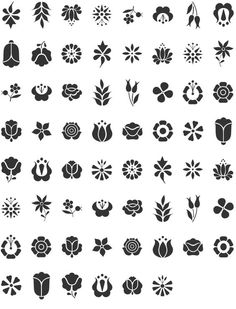 Kalocsai Flowers Dingbat Specimen - circles Behind the ear Hungarian Embroidery, Folk Embroidery, Embroidery Patterns, Hungarian Tattoo, Henna Designs, Flower Designs, Stencil Designs, Folk Art Flowers, Flower Art