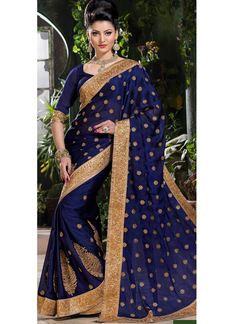 Blue Crepe Saree With Zari Work