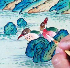 이문성 작가와 함께하는 궁중화조도 그리기 Ⅲ | 월간민화 Korean Painting, Traditional Paintings, Bird, Animals, Animales, Animaux, Birds, Animal Memes, Animal