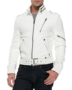 Enjoy exclusive for Men Slim Lambskin Leather Coat Motorcycle Biker Overcoat online - Thegreatfashion Biker Leather, Lambskin Leather Jacket, Leather Men, Leather Jackets, White Leather Jacket Mens, Real Leather, Custom Leather, Leather Shoes, Black Leather