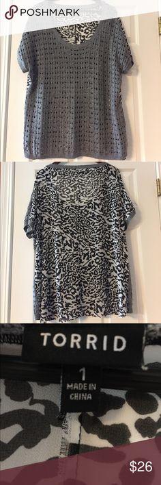 Dual Knit & Zebra Print Blouse Front - gray knit.  Back - Zebra print.  Dual style blouse purchased from Torrid.  Size 1. torrid Tops Blouses