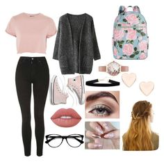 """""""school"""" by sanzianamaria-cusa on Polyvore featuring Topshop, Madewell, ban.do, Lime Crime, Avon, WithChic, Ace, Olivia Burton and Ted Baker"""