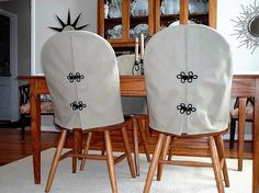 fitted back slipcovers to soften Windsor chairs