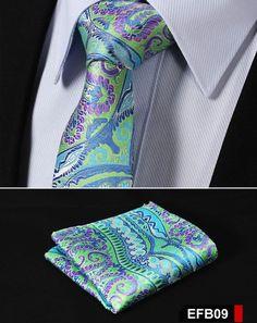 NeckTie - Green Purple Paisley 100%Silk Slim Necktie & Handkerchief Pocket Square Suit Set