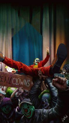 Joker 2019 We Are All Clowns Joaquin Phoenix HD Mobile, Smartphone and PC, Desktop, Laptop wallpaper resolutions. Joker Clown, Le Joker Batman, Le Clown, Joker Art, Joker And Harley, Superman Superman, Joaquin Phoenix, Dc Comics, Gotham City