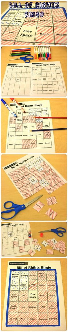 FREE download. Definitely for older classrooms. Students listen for these important terms and mark off the squares on the board. How quickly can you fill your board? Great for kids to get more familiar with The Bill of Rights. Download at: http://constitutioncenter.org/learn/educational-resources/activities/bill-of-rights-bingo