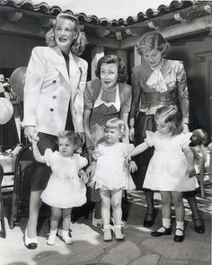 If you were born in 1947 - that was the same year Hollywood star Betty Grable and band leader Harry James had their 2nd daughter -- Jessica. Mom/daughter line up here (L-R) Betty Grable/Jessica, Mrs. Edgar Bergen/Candice Bergen - (it was Candy's 4th  birthday party here everyone is at) and Barbara Bel Geddes/daughter Susan.