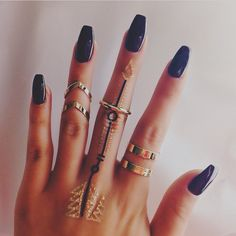 Blue/black nails with gold rings