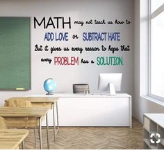 Math vinyl wall decals for teaching // add love, subtract hate . - Math vinyl classroom wall decals // add love, subtract hate – math cannot teach us to add love or - Math Quotes, Classroom Quotes, Classroom Walls, Classroom Design, Math Sayings, Classroom Wall Decor, Math Memes, Math Teacher Quotes, Math Design
