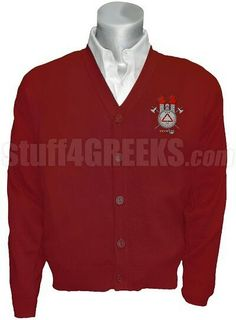 The Cardigan in cardinal with embroidered crest -also in black,burgundy,grey•$100