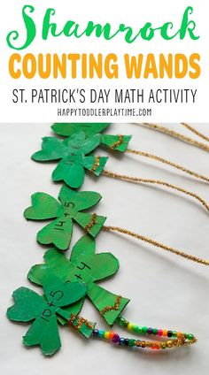 Shamrock counting wands is a fun and easy math activity for toddlers and preschoolers. Create shamrock wands this St. Patrick's Day! Preschool Graphs, Preschool Books, Toddler Preschool, Math Activities For Toddlers, Spring Activities, Holiday Activities, Easy Math, Simple Math, March Themes