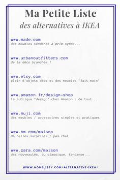 Ma petite liste des boutiques pour une alternative à IKEA ! http://www.homelisty.com/alternative-ikea/